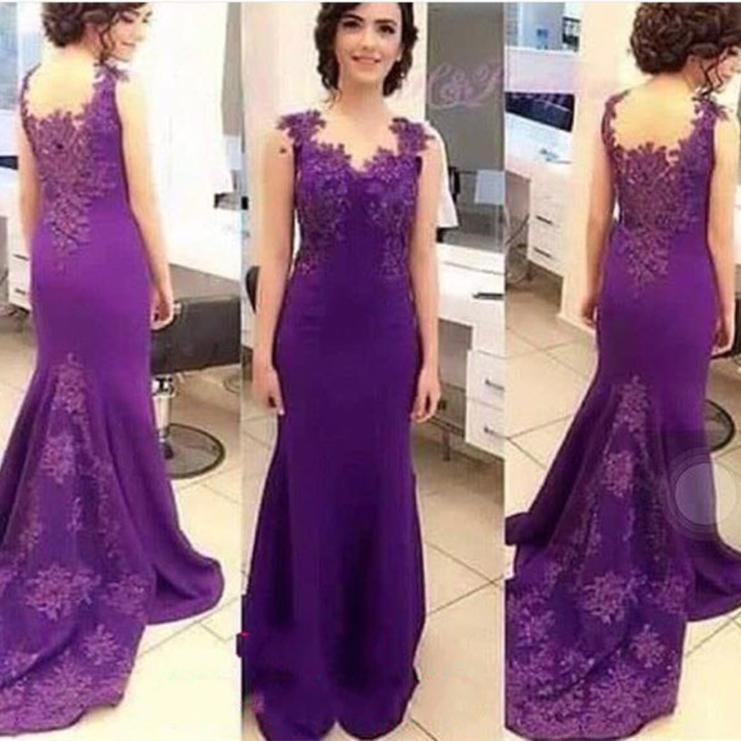 Vestido De Festa Purple Long Evening Dress Lace Beading Mermaid Formal Party Gown For Weddings Custom Made