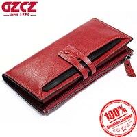 GZCZ Wallet Female Genuine Leather Women Purse Clutch Coin Purse Long Walet Portomonee Fashion Card Holder