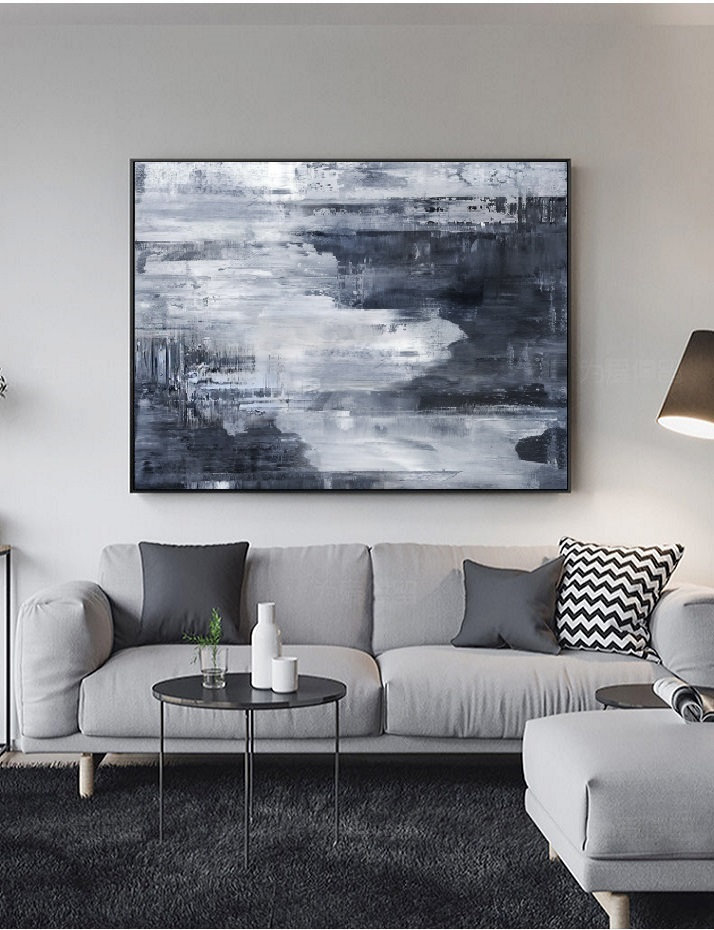 Abstract Painting Grey Art Horizontal