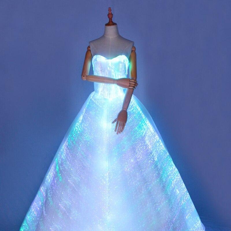[CHENS сестра] Уникальный световой яркие без Бретелек Длинное Пышное Платье с подсветкой платье Ladies Night вечерние платье