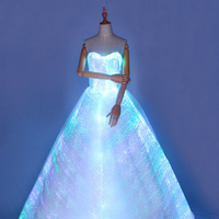 [CHENS SISTER] Unique Luminous Colourful Strapless Long Puffy Dress Led Luminous Dress Ladies Night Party Dress