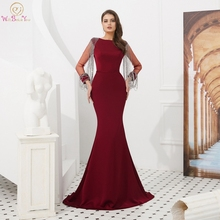 Black Red Evening Gown Reflective 2019 Robe De Soiree O Neck Floor Length Sweep Train Sexy Mermaid Long Femme Prom Dress