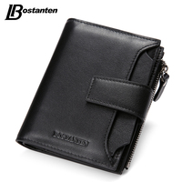 Bostanten New Black Genuine Leather Men Wallets Small Famous Brand Wallet Male Designer Mens Purse Credit Card Coin Wallet Short