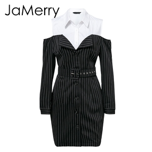Image 5 - JaMerry Sexy off shoulder fake two piece stripe blazer dress women Office lady sash mini dress Autumn winter blazer blouse dress