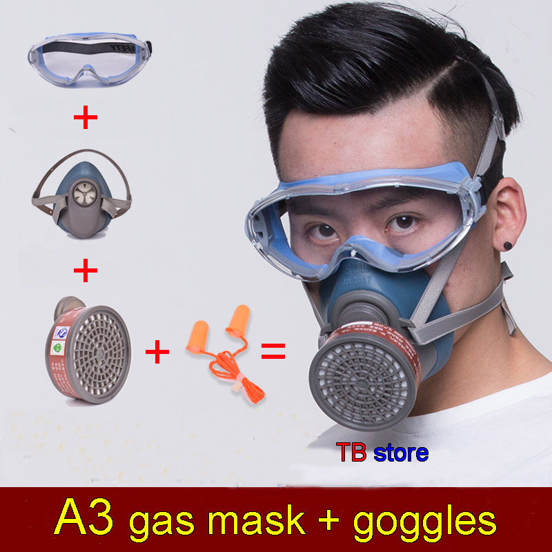 SJL Gas mask + goggles High definition Anti-fog goggles Silica gel protective mask against Various Toxic gas chemical gas mask asl h 320 respirator gas mask high quality silica gel large size protective mask against spray paint chemical pollution gas mask