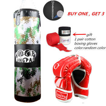 Empty Kick Boxing Bag 100cm Training Fitness Punching BagSaco De Pancada Boxeo Hook Hanging MMA Fight Sandbag+2 pairs gloves