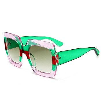 HBK 2018 Italy Oversized Sunglasses Women Brand Designer Retro Luxury Men Square Sun Glasses For Female Lunettes De Sol UV400