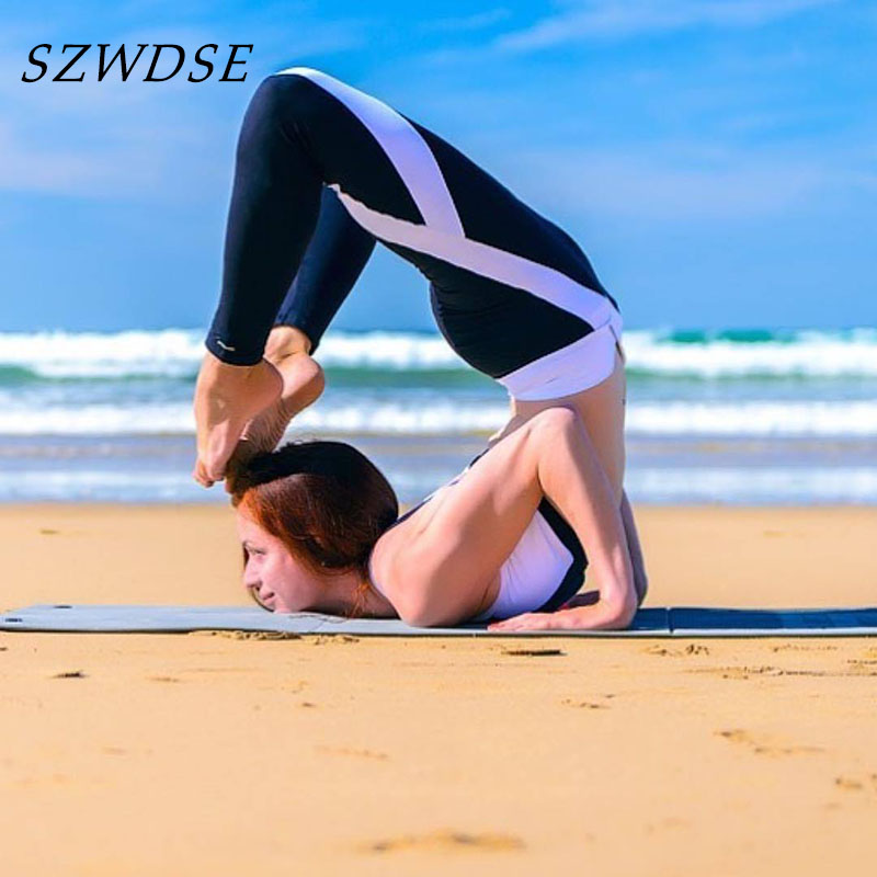 Black And White Striped Leggings Yoga Gym Pants Push Up Sexy Hips Plus Size Tights Woman Sport High Waist Slim Leg Troursers