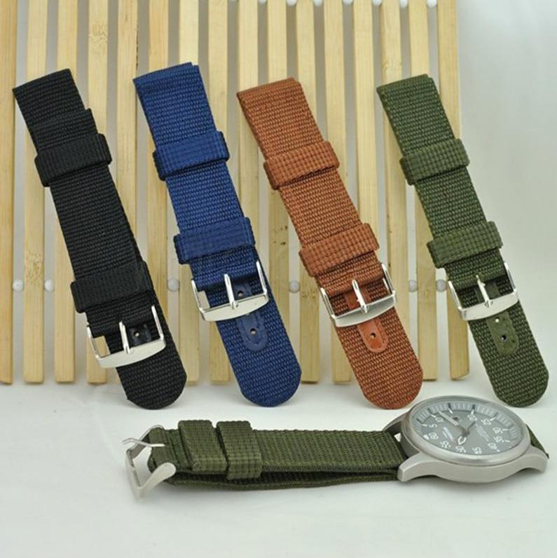 Fixmee Mens Infantry Military Army Black Green Nylon Sport Wrist Watch Band Strap New For 22mm 24mm