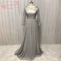 Superkimjo Vestido Longo; съемная юбка Выпускные платья 2018 с длинным рукавом серебряные блестящие Линия Пром платье