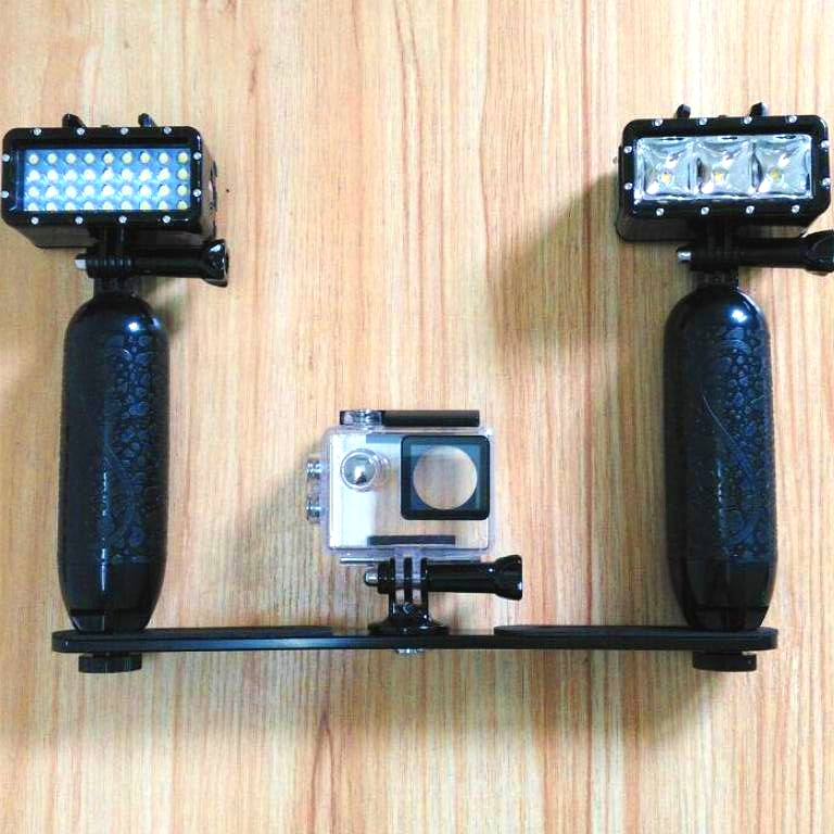 New Diving Waterproof LED Light Handheld Stents Holder For GoPro Hero 3 5 6 7 Xiaomi Yi 4K Mijia Sjcam SJ6 Sj5000 EKEN H9 Camera