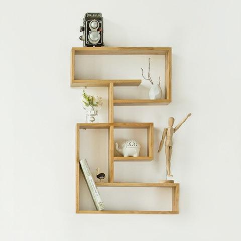 Nordic ikea creativo scaffale in legno di quercia bianca for Ikea mensole da muro