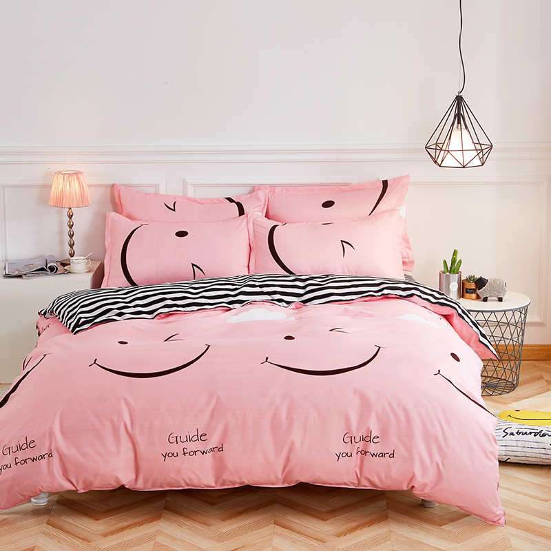 Classic Bedding Set 5 Size Stripe Heart Black Bed Linen 4pcs/set Duvet Cover Set Pastoral Bed Sheet AB Side Duvet Cover 2019 Bed