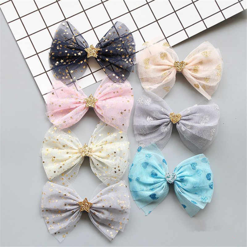 5pcs/lot Fashion Sweet Girls Tulle Bow Hair Clips Bling Bling Heart Stars Barrettes Hairpin Kids Hair Accessories Best Gift