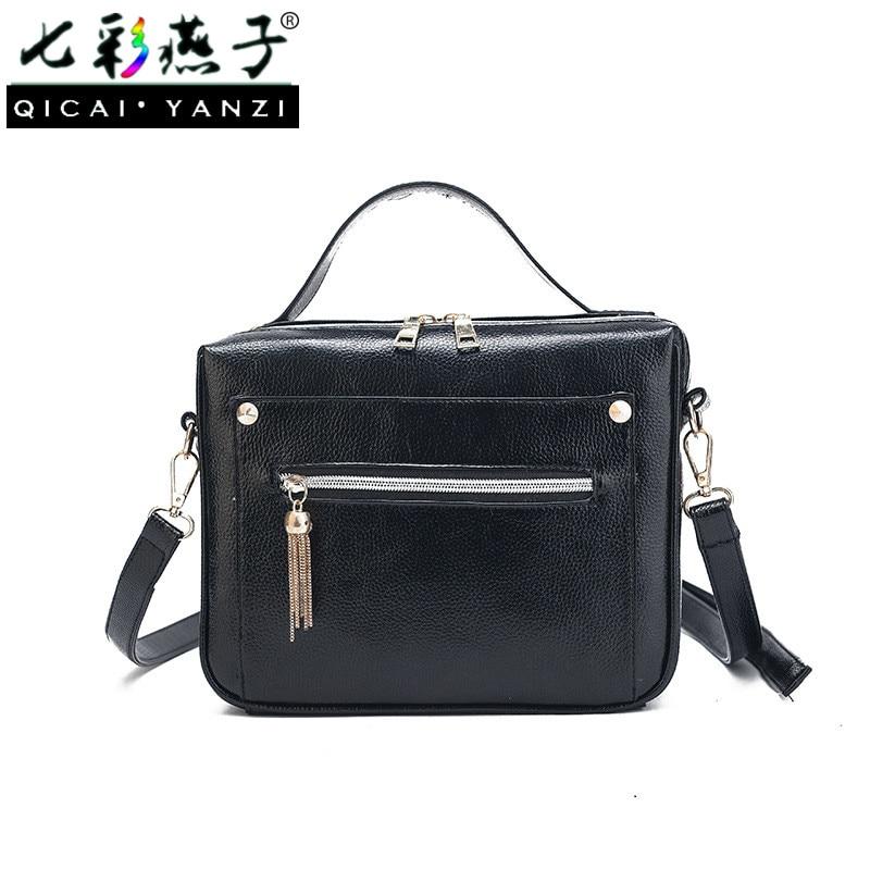 QICAI YANZI Women Shoulder Bag Daily Clutchs Handbag Female Tassel Horizontal Zipper Portable Box Casual Solid