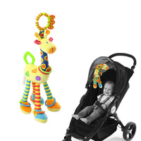 Infant Baby Development Plush Soft Giraffe Animal Handbells Rattles Handle Toys With Teether BM88