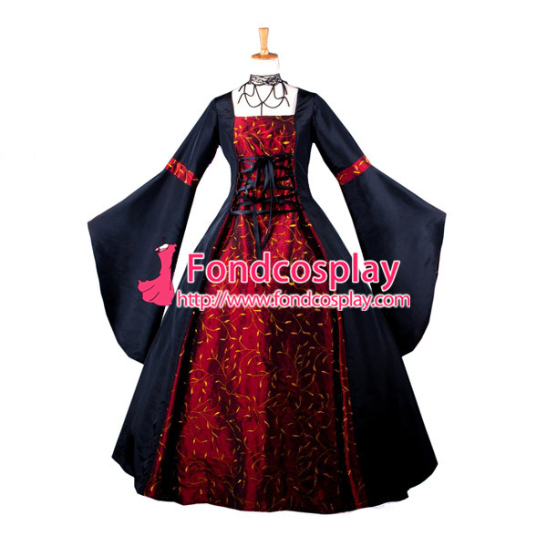 Elegant Gothic Ball Medieval Gown Long Sleeve Victorian Dress Cosplay Costume Custom made[G1052]
