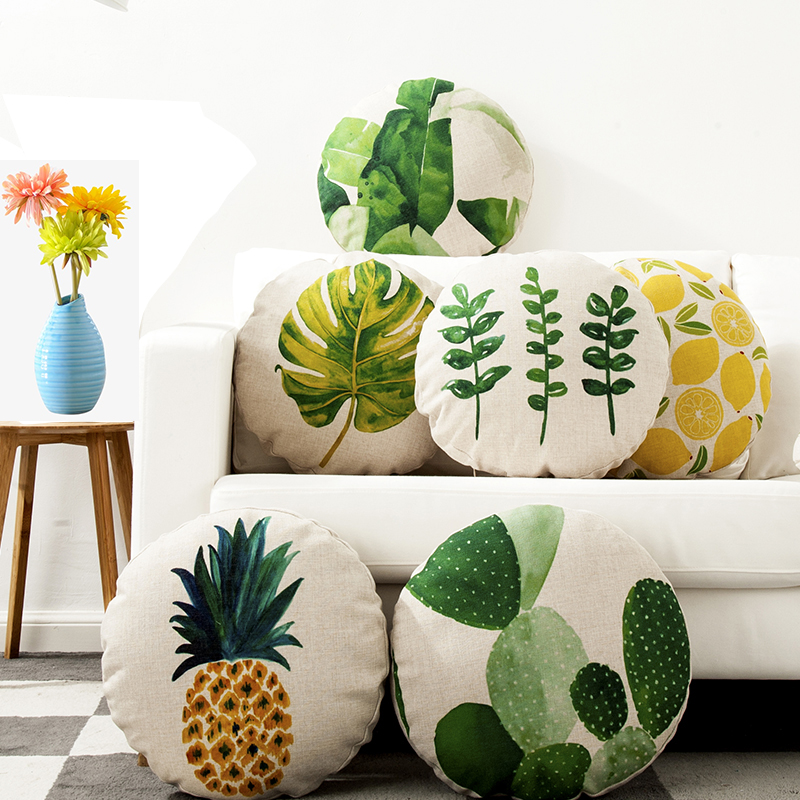 Round Pillow Banana Leaf Tropical Plants Pastoral Cotton Linen Futon Cushion Cover Car Sofa Decoration Pillow Cover Cushion Cove
