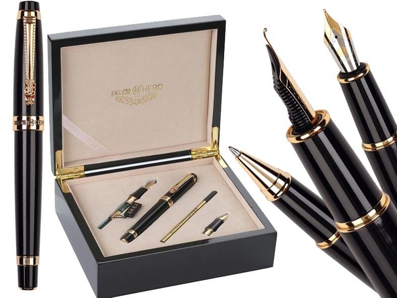 Fountain pen Calligraphy Nib + Broad Nib + Rollerball Tib Original box HERO 1111standard pen 4box/lot Free Shipping цены