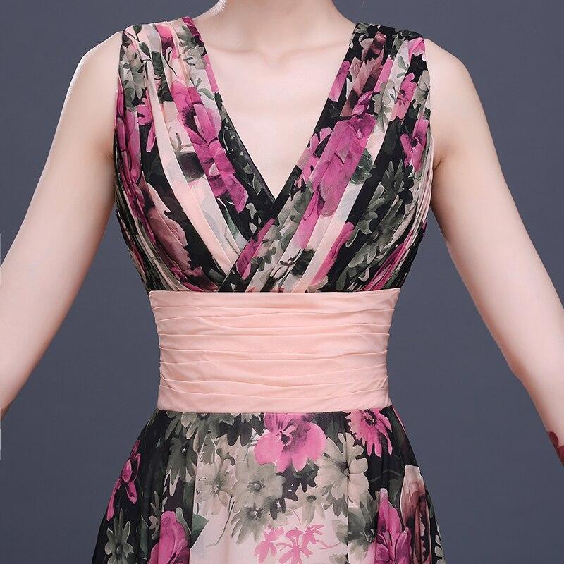 Fleur motif Floral imprimé en mousseline de soie robe de bal robe de soirée longue robes de soirée 2019 - 5