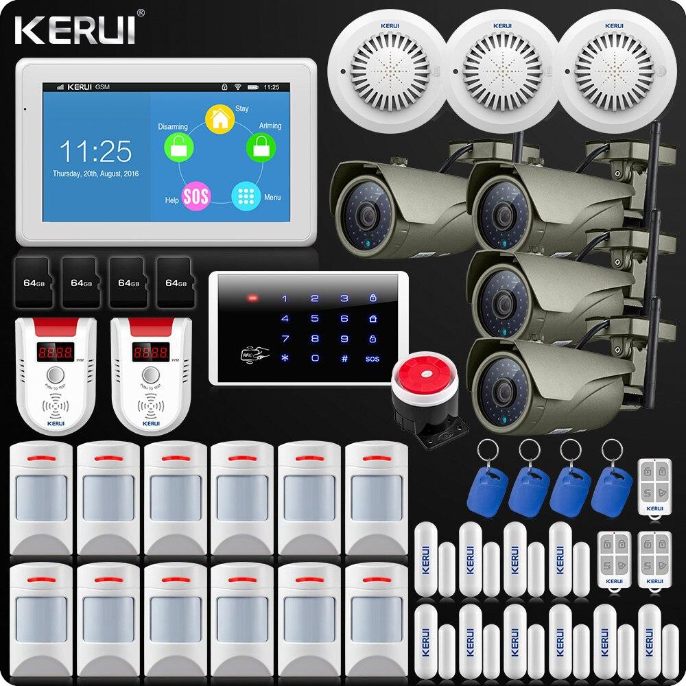 KERUI 7 Polegada TFT Display Colorido GSM WIFI ISO Sistema De Alarme Android App Controle Remoto de Alarme Home Security Sensor de Fumaça