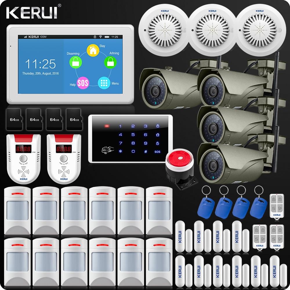KERUI 7 Pollici TFT Display A Colori WIFI Sistema di Allarme di GSM ISO Android App di Controllo Remoto di Allarme Domestico di Sicurezza Sensore di Fumo