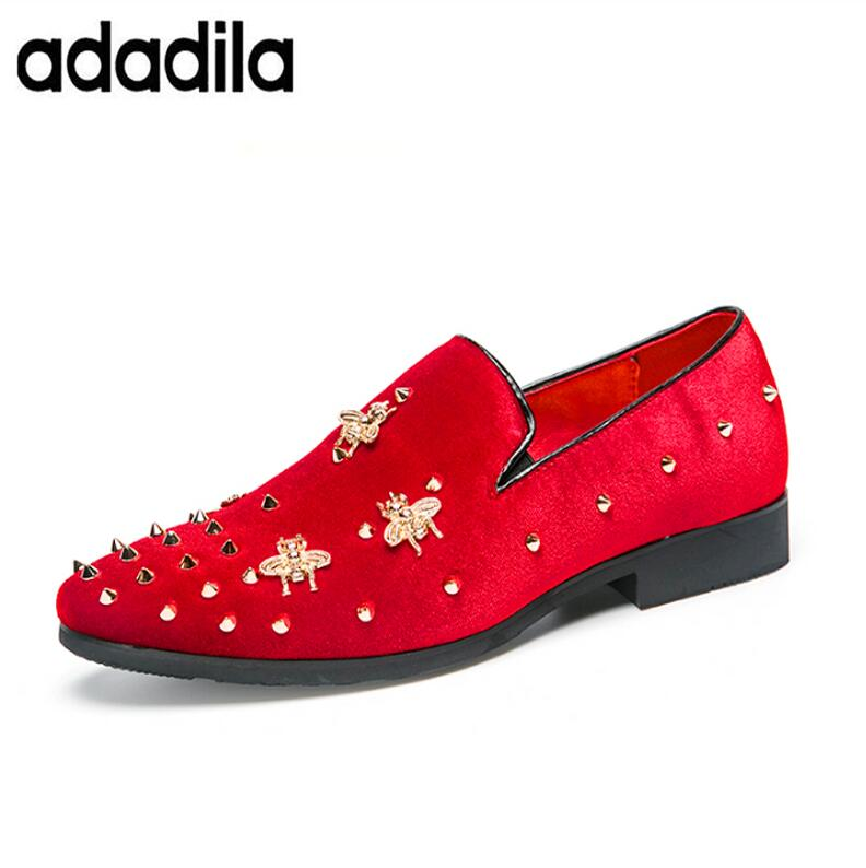 Shoes Men Dress Shoes Handmade Suede Wedding Bee Shoes Party Prom Loafers Tenis Masculino Adulto Male Footwear Rivet Funky Shoes