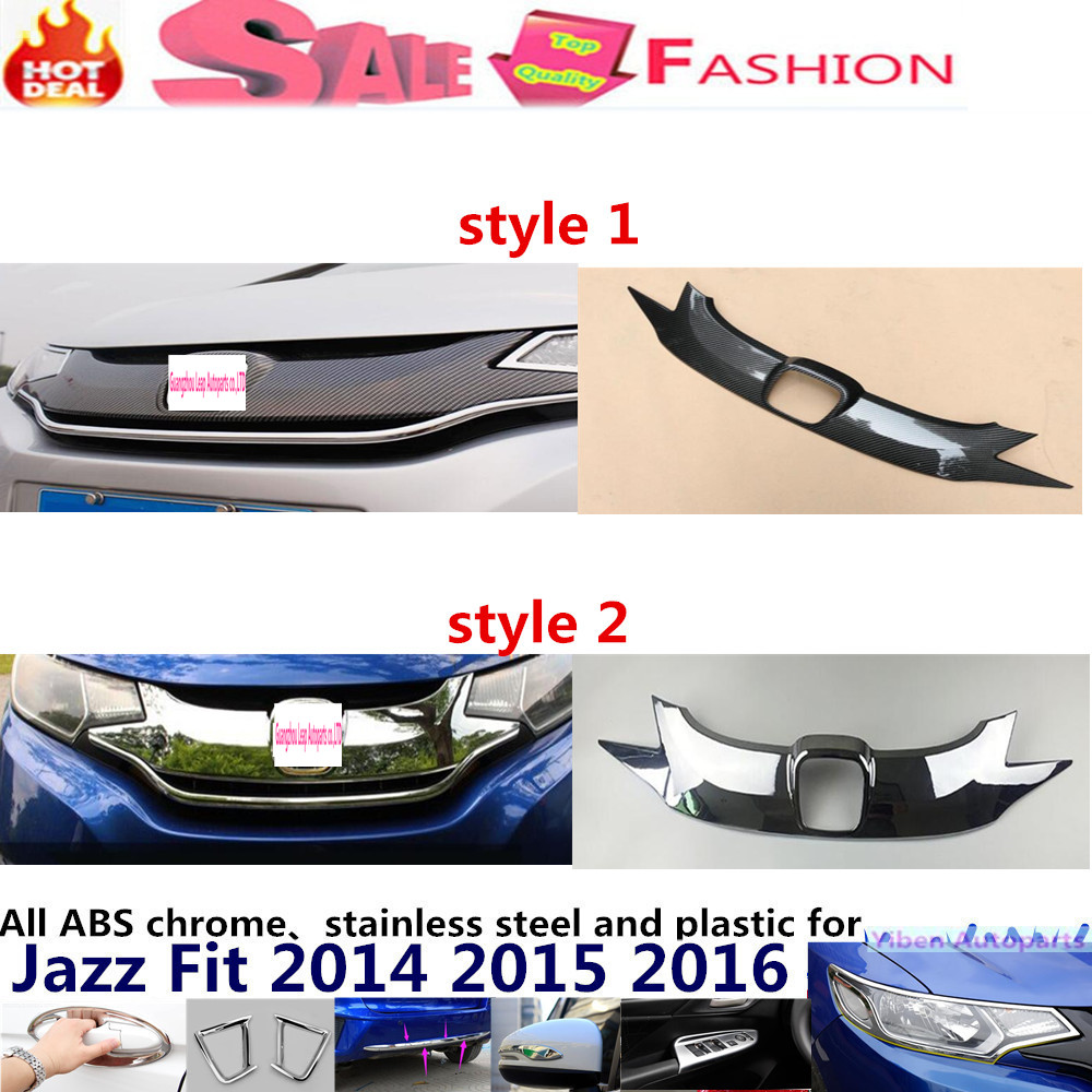 For H08DA FIT JAZZ 2014 2015 2016 car body styling cover detector stick ABS front racing grille frame Chrome trim Strips 1pcs for peugeot 301 2013 2014 2015 2016 car styling cover detector sticker abs front license grille frame chrome trim strips 1pcs