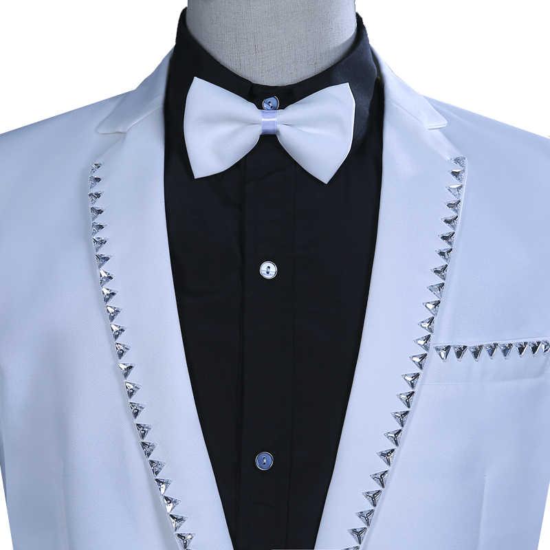 白色結晶ブレザーメンズスリムスーツ歌手コーラス衣装ホスト結婚式新郎スーツ男性ホストステージパフォーマンスの衣類