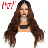 PAFF Deep wave glueless lace front wig ombre color #1BT4 remy hair Brazilian human hair wig with middle part baby hair long hair