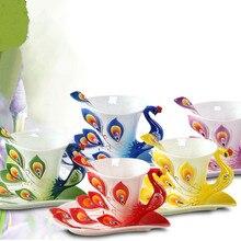 3D Павлин эмалированная кофейная кружка, набор керамических чашек для чая, молока, посуда для напитков, креативный китайский костяной подарок другу