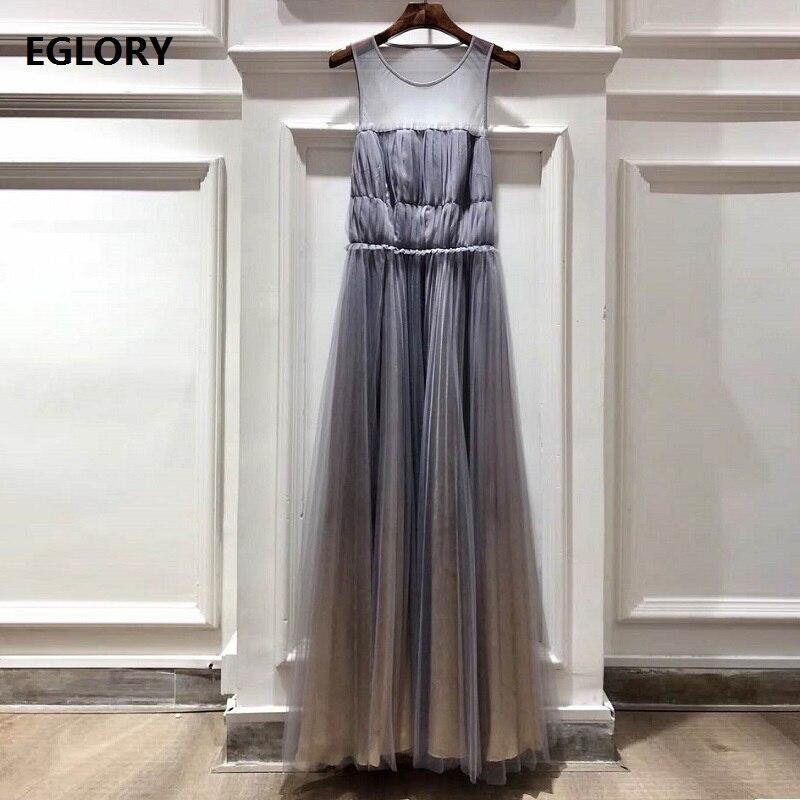 Étage longueur robe 2019 été mode longue soirée Vestidos Occasion spéciale femmes Sexy pure maille Patchwork longue Maxi robe