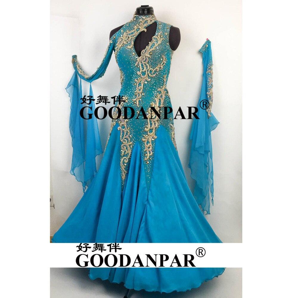 Бальных танцев конкуренции платья фигурное катание платье Бальные Стандартный платье цвет небесно синий одно плечо женские платья