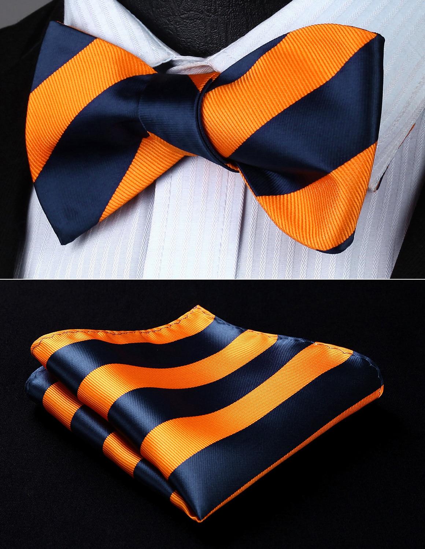 Black Blue Striped Men/'s Tie Bowtie Self-Tie Wedding Silk Bowtie+Handkerchief