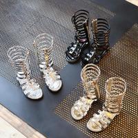 2017 d'été Enfants chaussures sandales filles Roms bottes long tube sandales princesse chaussures de mode side-zipper enfants partie chaussures 4-12Y