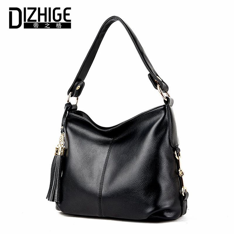 ФОТО DIZHIGE Brand Tassel Shoulder Bags Genuine Leather Crossbody Bags Women High Quality Sheepskin Women Handbags Chain Ladies Bags