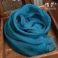 Подлинная Шелк Шарф Женщин 2016 Лето Осень Зима Высокое Качество Шаль Мода Павлин синий Сплошной Цвет Шарфы