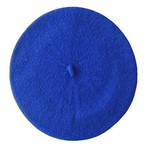 Одноцветный женский берет для девочек, французская художница, теплая шерстяная зимняя шапка, шапка 4XQT - Цвет: Sapphire Blue