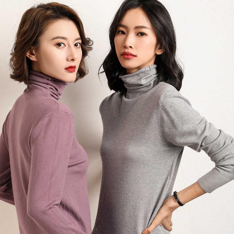 Gajas Ainyu nuevo suéter de otoño invierno mujeres suéteres de cuello alto moda 2019 mujeres suéter de cachemira mujeres tejer Jersey tapas