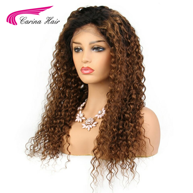 Carina 130% Density Ombre Color Lace Front Wigs With Baby Hair Brazilian Kinky Curly Wigs Pre-plucked Hairline Remy Human Hair