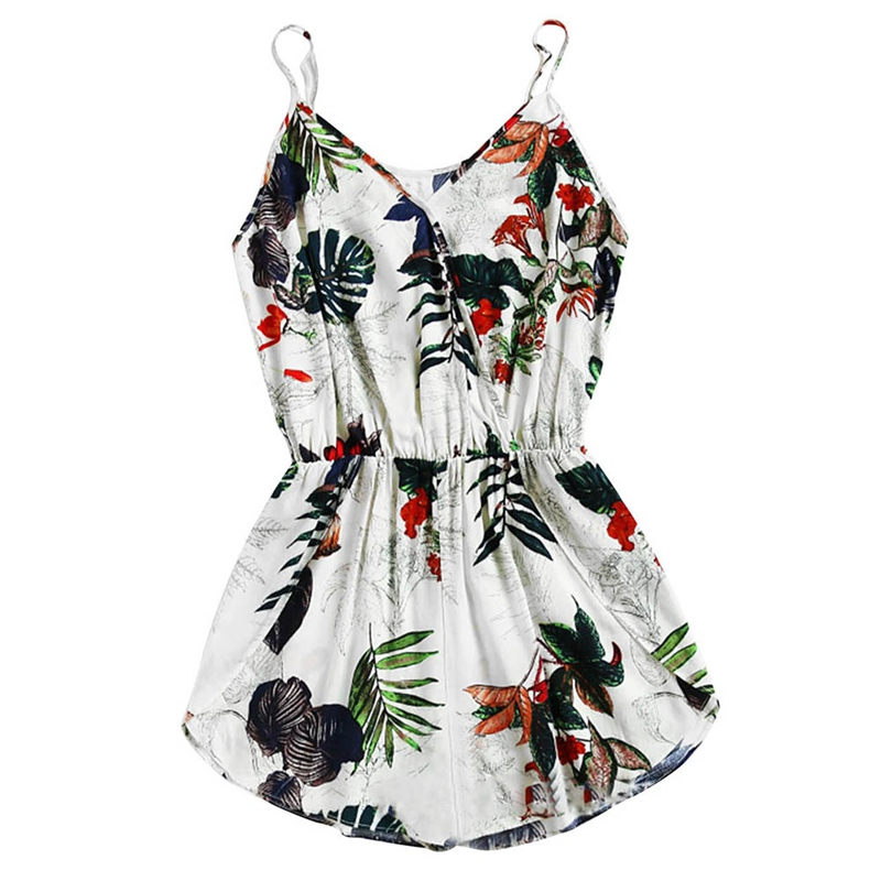 Womens Shorts Rompers Ladies Vacation V Neck Sleeveless High Waist Jumpsuit Tropical Print Surplice Tulip Hem Cami Romper