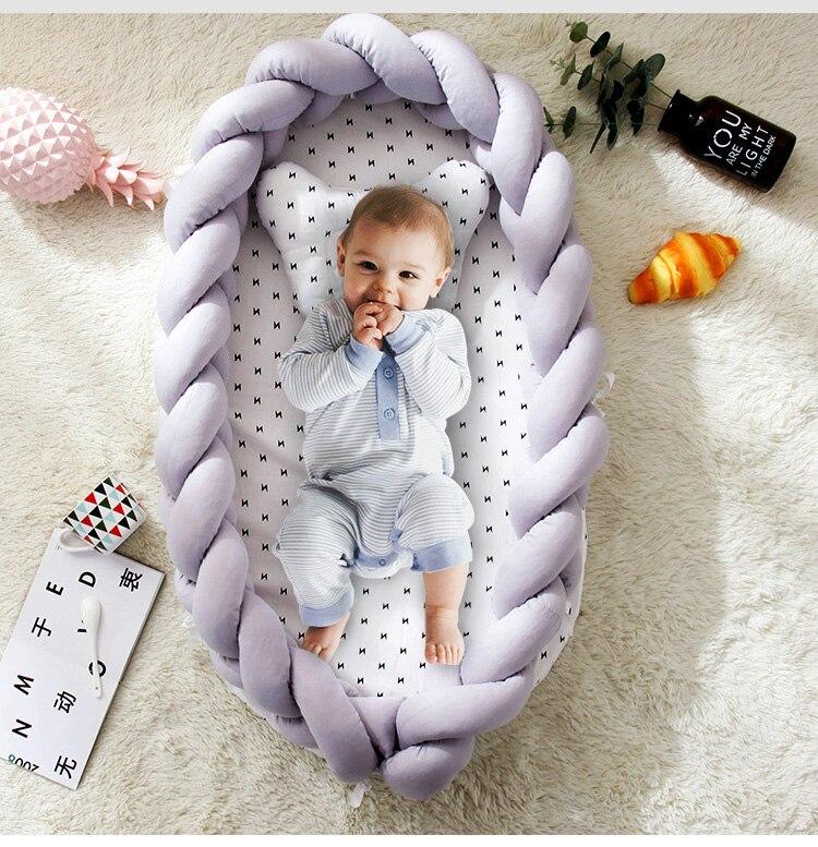 Bébé nid lit voyage berceau bébé lit infantile CO dormir coton berceau Portable blottir 90*55 cm nouveau-né bébé couffin BB artefact - 5