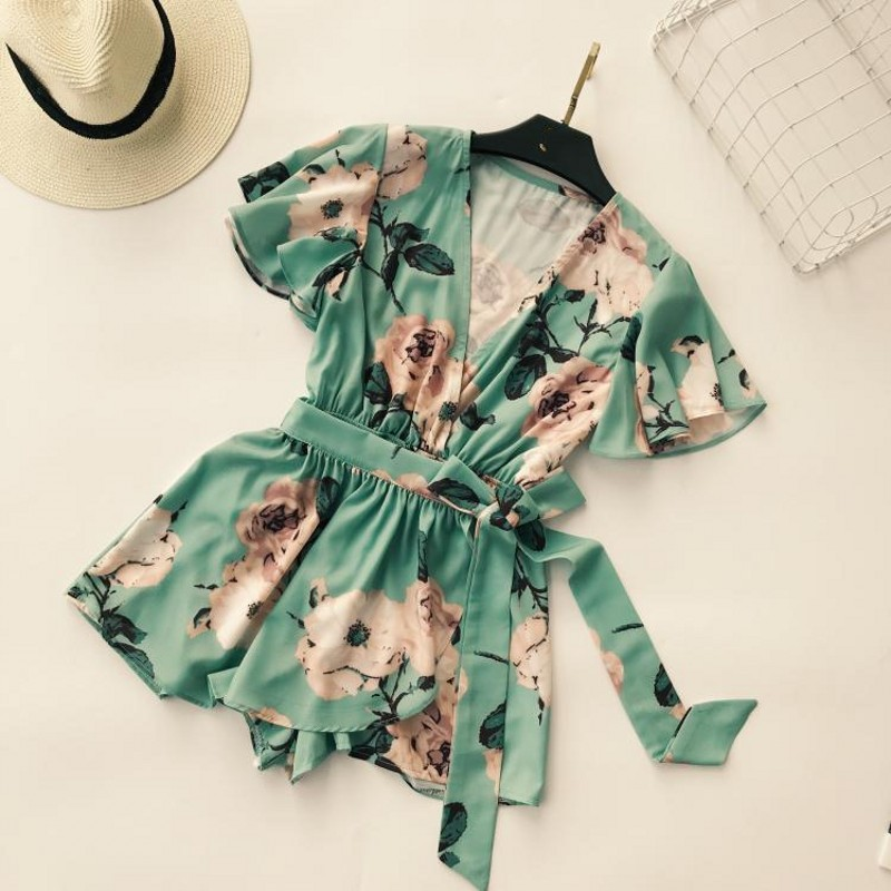 2018 new Shorts Rompers printing flower Women Jumpsuits Summer Sexy Deep V Neck plus size Tie Waist Casual Jumpsuit