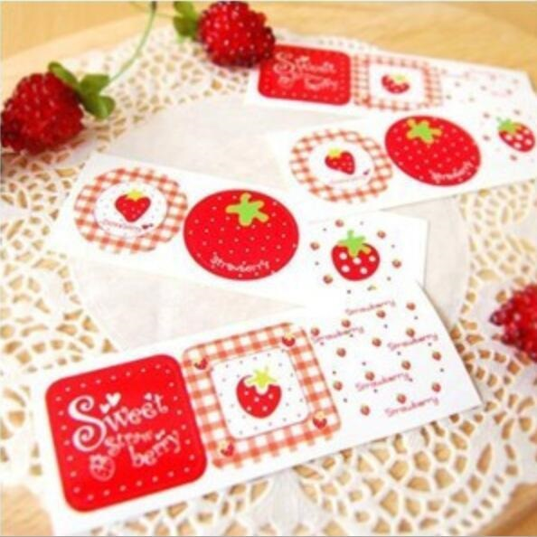 120PCS  Sweet Strawberry series seal sticker for baking DIY Package label Decoration label stickers