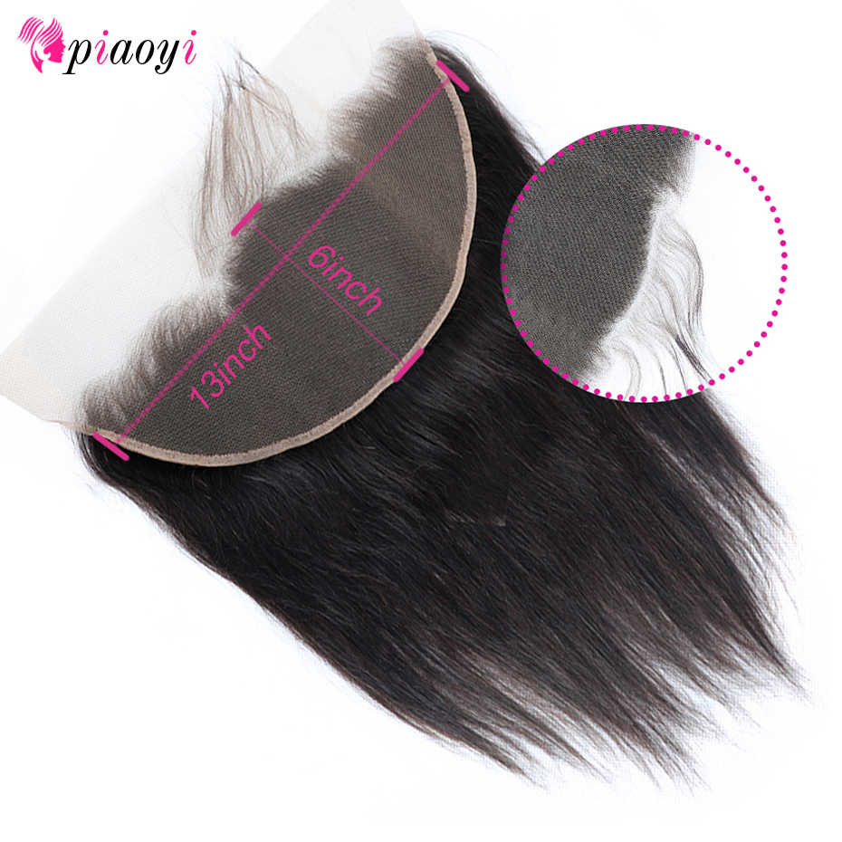 Piaoyi 13*6 Lace Frontal Closure With Baby Hair Brazilian Remy Straight Hair 100% Human Hair Free/Middle/Three Part