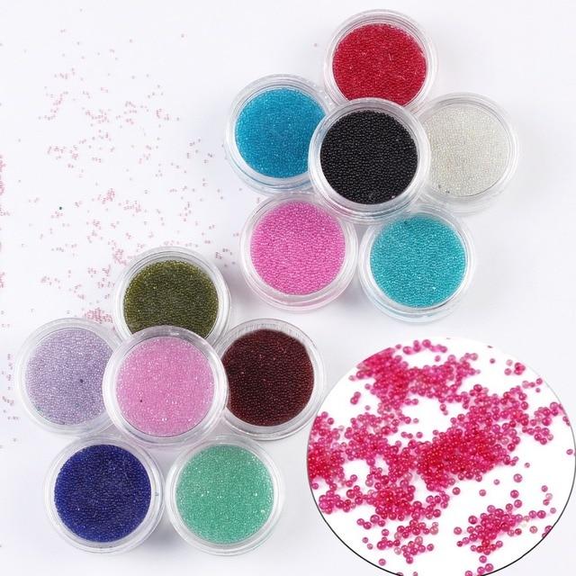 12 Unids/set Clear Trend Caviar Caviar Perlas de Uñas de Colores ...