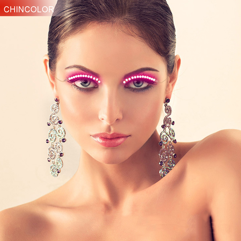 1pair LED Glowing False Eyelashes Novelty Light Pink White Crystal Blue For Salon Pub Club Bar Party Players Eyelid Make Up KQ