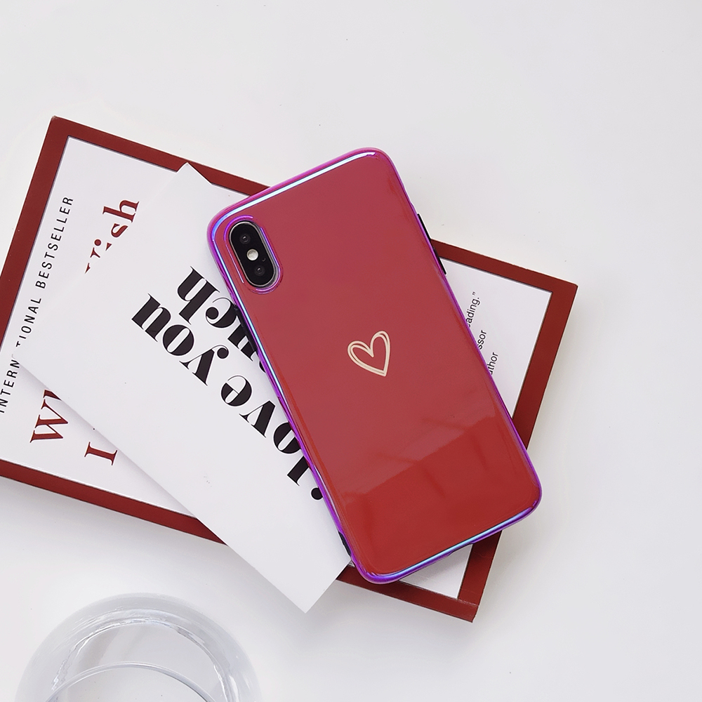 Soft Silicon Matte Heart Protective Case For iphone 6 6s 7 8 Plus x Xr Xs Max Back Cover