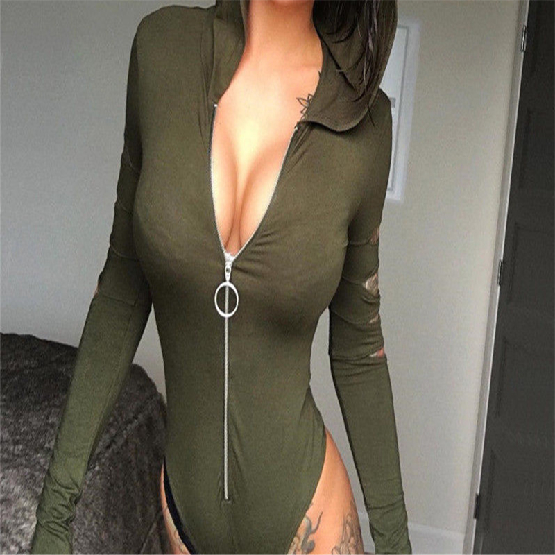 58167a40b3 Zip Front Ripped Long Sleeve Hooded Bodysuit Sexy Hollow Out Romper Sexy V- neck Long Sleeve Bodysuit Large Size