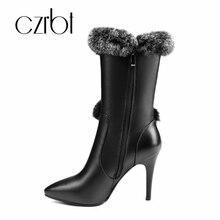Carbt 2018 nuevo estilo Mao zapato señaló botas de tacón alto de las mujeres  botas de c436845d060a